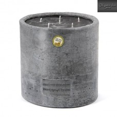 Candle in waxed concrete jars
